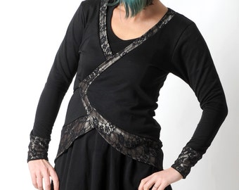 Black jersey wrap, Long black and bronze golden jersey cardigan with lace details, Womens clothing, Gift for her, Festive clothing,MALAM