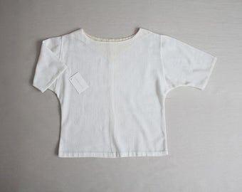 70s gauze blouse | white gauze blouse | gauze top