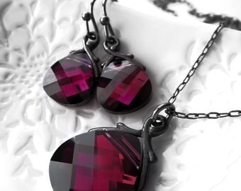 Deep Fuchsia Swarovski Crystal Teardrop Necklace and Earrings Set, Dark Magenta Crystals, Valentines Day Jewelry, Gift for Girlfriend 6012