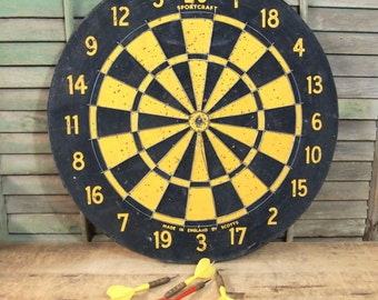 Vintage Two sided Dart Board Target Typography Game Toy Pub SportCraft made in England by Scotts Yellow black