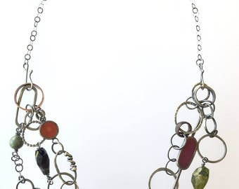 Silver Convertible Necklace Eclectic Handmade Long Chain Boho Oxidized Patina