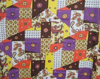 VINTAGE 70s fabric hippie boho fabric geometric paisley boho fabric Schwartz Liebman