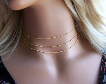 Multi Layer Chain Choker, Gold Choker Necklace, Dainty Gold Chain Necklace , Dew Drop Necklace, Layering Necklace, Bridesmaids Gifts