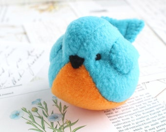 Orange and Blue Fleece Bird Handmade Stuffed Animal Turquoise Plush Bird Bluebird Stuffed Animal