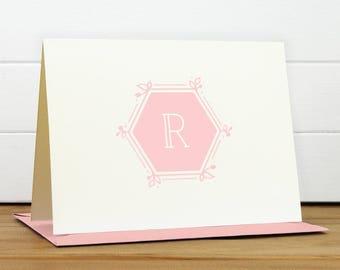Personalized Stationery Set / Personalized Stationary Set - HEXAGON Custom Personalized Note Card Set - Modern Monogram