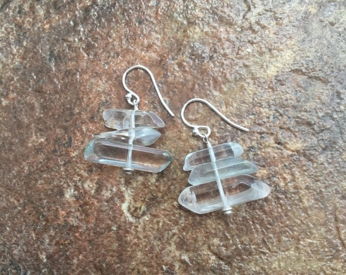Stacked Phantom Quartz Earrings in Sterling Silver