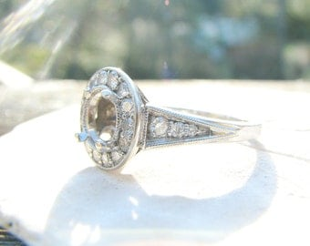 Vintage Diamond Halo Ring Mounting, Ready for Your Center Stone, 14K White Gold, Bright and Fiery Diamonds, Lovely Engagement Ring
