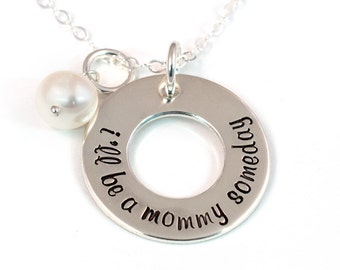 Infertility Necklace - I'll Be a Mommy Someday - Waiting Necklace - Open Circle - Infertility Jewelry - Sterling Silver Necklace