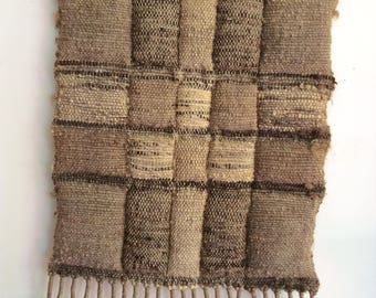 Woven Wool Wall Tapestry. Wall Hanging, Natural Brown & Cream with Fringe. Large Vintage Weaving.