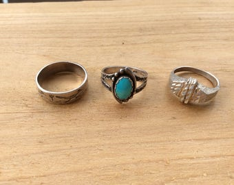 Sterling Silver Ring Set, Southwestern Vintage Turquoise & Silver Ring, Roadrunner Cactus Ring, Abstract Crystal Ring. Size 5.5, 6.5, 7.5