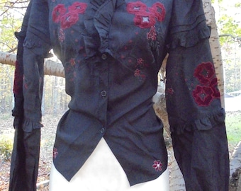 Black Victorian blouse vintage velvet embroidered flowers puff  sleeve ruffles steampunk small  from vintage opulence on Etsy