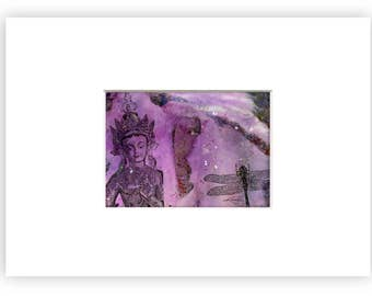 """Buddha, Dragonfly painting, Mixed Media Original Abstract  Painting in mat """"Peace & Love"""" by Kathy Morton Stanion EBSQ"""