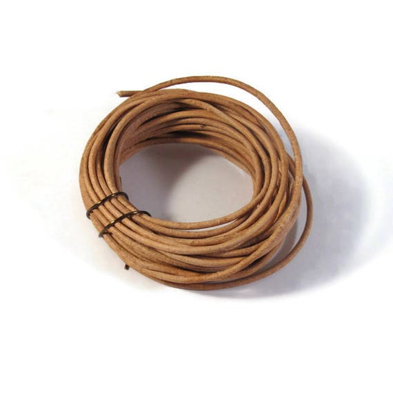 Natural Tan Leather, Strand of Brown Round Leather, 2mm, 5 Yard Coil, Great for Wrap Bracelets and Jewelry Making