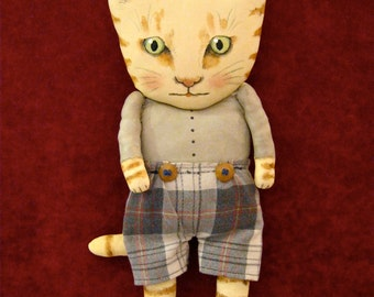 cat ooak art doll,  sandy mastroni , wall art doll ,boy cat , plaid shorts ,shelf art doll, kitty art doll