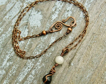Wire Wrapped Blackstone and Quartz antiqued copper necklace - black and white necklace