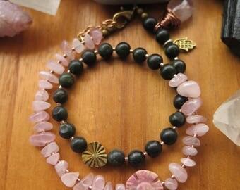 Earthy Stone Beaded Bracelet Double Wrap -  Brass Pink Dark Green - Crystal Boho Jewelry OOAK Charms Hamsa & Drop - Funky Gypsy Flower Daisy