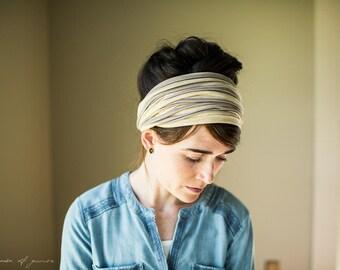 Soft Plum Stripe Cowl Headwrap - Garlands of Grace headband scarf convertible headcovering