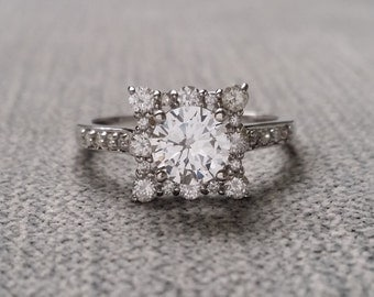 """White Sapphire and Diamond Engagement Ring Halo Square Vintage Antique 14K White Gold Exclusive """"The Penelope"""""""
