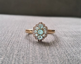 Two Toned Mint Tourmaline Diamond Antique Engagement Ring Feminine Flower Cluster Anniversary 1970 Vintage White Yellow 14k Gold Size 9.75