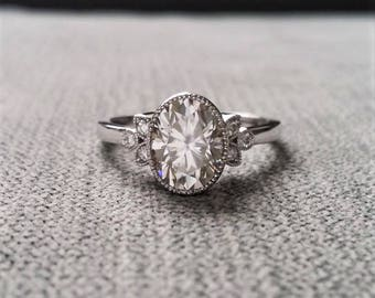 "Antique Diamond E-F Moissanite Engagement Ring White Gold Victorian Bezel Set Low Profile Filigree Gemstone PenelliBelle ""The Luella"""