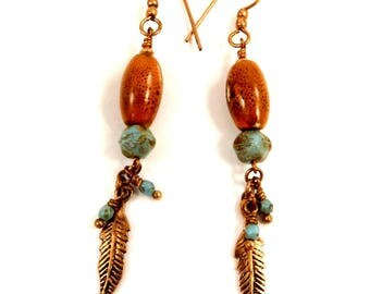 Orange Speckled Earrings Long Copper Ceramic Jewelry Turquoise Green Glass Dangle Earring Shoulder Duster Feather Accessory