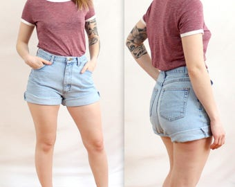 90's Wrangler Denim Shorts in Small or Medium . Light Blue Jean Shorts . High Waisted Distressed cuffed jeans .