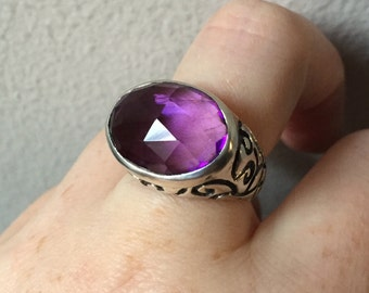 Amethyst and Sterling Silver- Longitude Ring