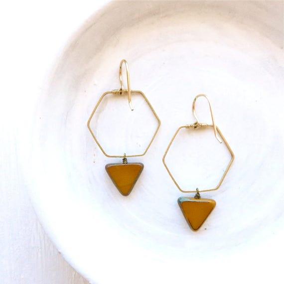 WHOLESALE LISTING // Hexagon Earrings - Mustard // EHM