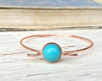 Turquoise bangle, rose gold bangle - turquoise stone bracelet,simple bracelet. Tiedupmemories