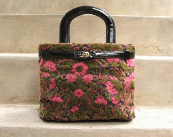 Tapestry Bag Floral Purse Fabric Handbag Vintage Pocketbook 1960s Purse
