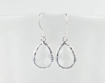 Crystal Silver Teardrop Earrings, Clear Silver Earrings, Bridesmaid Earrings, Bridesmaid Jewelry, Silver Earrings, Gifts Under 15