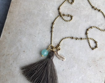 State Long Necklace, Long Tassel Necklace, California Charm