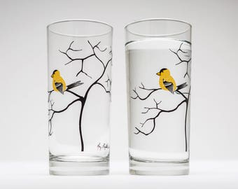 Finch Glassware - Set of 2 Everyday Drinking Glasses, Mother's Day Gift, Golden Finch, Tabletop, Mother's Day, Gifts for her, Yellow Finch