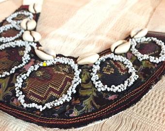 Ancestry Cloth Beaded bib necklace - Unique handmade accessories, boho OOAK necklace, collar bib, nomad gypsy tribal jewelry, wearable art