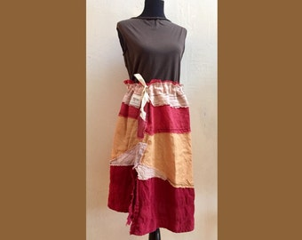 Reconstruction Skirt  - ONE SIZE Reconstructed womens clothing, organic hand dyed and painted and handmade OOAK wearable art skirt