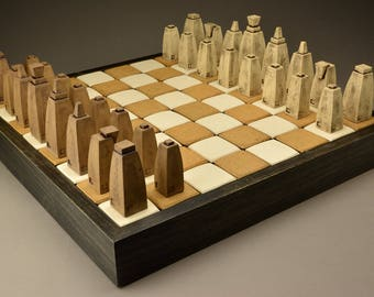 Handmade Ceramic Chess Set and board - made to order - free shipping to lower 48 states -- 50% non refundable deposit required