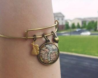 Michigan Map Charm Bangle Bracelet - Personalized Map Jewelry - Stacked Bangle - Pure Michigan - Detroit - Upper Peninsula - Traverse City