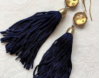 The Atlantic Ocean Tassel Earrings deep navy blue fringe vintage glass cabochon moon and stars