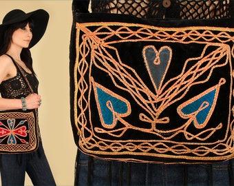 ViNtAgE 60's Handbag Black VELVET Woodstock Era Afghan Embroidered Hearts Floral 70's Purse Satchel Rare
