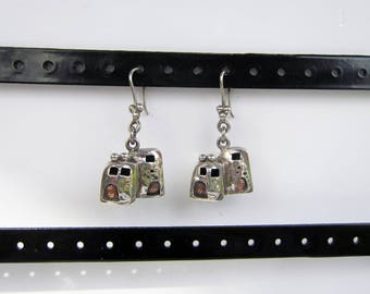Vintage Native American - Southwestern Sterling Silver and Bronze 3-D Adobe House Dangle Earrings     1312B