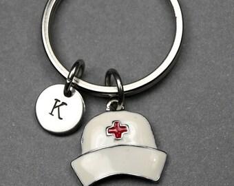 Nurse's hat keychain, nurse's cap keychain, nurse hat charm, nursing school gift, nursing cap keychain, personalized gift, initial keychain