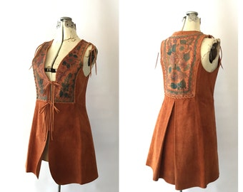 Char Leather Vest Bohemian Floral Handpainted Hippie 1960's Original Designer Coachella Burning Man Southwestern Style Drapped Back XS