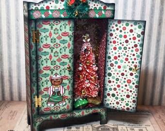 ooak handmade miniature cabinet with decorated Christmas tree scene inside