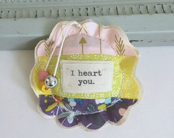 fabric scrap modern patchwork I heart you lavender sachet ornament,  flower shape sewn sachet I heart you hanging pillow sachet No. 57