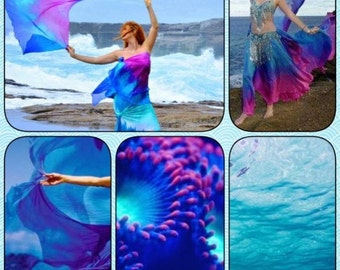 Bellydance silk veil rectangle 4 yards long CUSTOM you choose colors MADE to order does not include veils with black