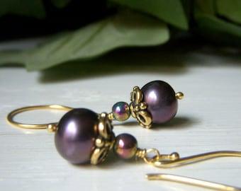 Purple Pearl Earrings, Purple Gray Gold Vermeil Dangle Earrings, Classic Round Pearl Earrings, High Quality Freshwater Pearl, Gold Vermeil