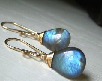 Large Labradorite Earrings, Goldfilled Earrings, Wirewrapped Blue Labradorite Earrings AAA Quality Simple Gemstone Briolette Teardrop