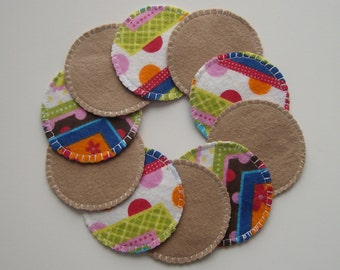 Cotton Rounds - Washable Reusable Crazy Stripe and Tan Make-up Remover Pads - Eye Pads