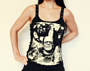 Classic Horror Collage Lace up shirt tank top Horror movie gothic clothing apparel dark style nightmare elm street altered tee t-shirt