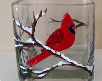 Cardinal Candle Holder, Cardinal Decor, Red Cardinal, Birds, Cardinal Christmas Decor,  Winter Birds